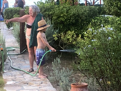 Garden Assistant (RobW_) Tags: sammy ritsa watering garden tsilivi zakynthos greece saturday 03aug2019 august 2019