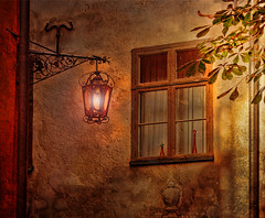 Window on a medieval house (Birgitta Sjostedt) Tags: window light lamp wall old texture stone morning medivial filter topaz stockholm oldtown