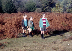Not yet lost (theirhistory) Tags: boy child children kid girl forest wood field jacket shorts grass wellies wellingtonboots
