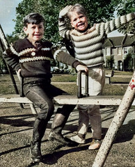 Fun on the swing (theirhistory) Tags: boy child children kid jumper trousers shoes wellies wellingtonboots