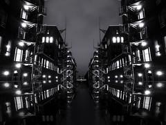 Short Ride in a Fast Machine // Cut-up XIX (Novowyr) Tags: hamburg speicherstadt night nacht canal kanal kehrwiederfleet circulair stai circularstair wendletrap wendeltreppen bridge nightlights mirrored cutup novowyr reflections spiegelungen darkwaters vanishingpoint mittelformat mediumformat elitegalleryaoi bestcapturesaoi aoi