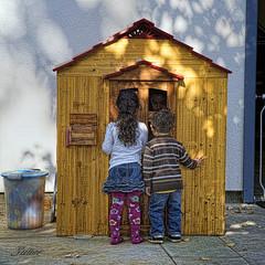Anybody Home? (msuner48) Tags: d600 acr5 cs4 children play birthdayparty playhouse nikcollection topazlabs nikon2485mmf35