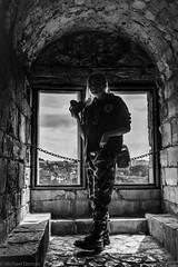 Photographer in Silhouette Conisbrough Castle (bigowl11) Tags: conisbrough conisbroughcastle southyorkshire bw mono monochrome blackandwhite street castle silhouette architecture shadow