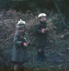 Out with teddy (theirhistory) Tags: boy child children kid girl wood coat hat wellies wellingtonboots