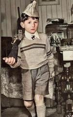 Attention (theirhistory) Tags: boy child children kid hat jumper gun shorts