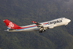 LX-GCL, Boeing 747-400F, Cargolux, Hong Kong (ColinParker777) Tags: cargolux cv boeing 747 744 744f 747f 747400f cargo freight freighter jumbo jet plane airplane aeroplane aircraft aviation air flying flight fly takeoff departure ascent ascend cloudy sharp clear rr rolls royce rb211 power engines canon 200400 zoom l lens telephoto hong kong hkg vhhh chek lap kok airport lxgcl 747467f bhuq 34150 1356 trees mountain hill greenery forest jungle