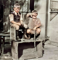 How deep (theirhistory) Tags: boy child children kid box shirt shorts wellies wellingtonboots