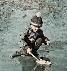 Ice braker (theirhistory) Tags: boy child children kid hat jacket trousers water boat ship wellies wellingtonboots