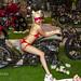 Sexy Girls in red bikini from Moulin Rouge cabaret on custom big bike. Phuket Bike Week, Thailand         XOKA1917bs