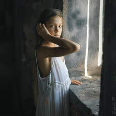 Dana. (matveev.photo) Tags: girl light white wall window shadow face squareformat portrait photography people eyes sunlight summer square teenage teen matveev art young hands hair