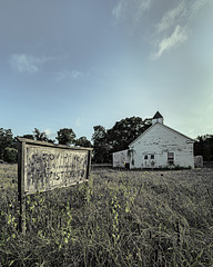Crisis Of Faith (Mike Schaffner) Tags: abandoned baptist chapel church decay decayed derelict deserted dilapidated missionary old providence providencemissionarybaptistchurch ruins sign weeds