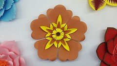 Paper Flower Backdrop with Free Template (ufnmimcp) Tags: youtube origami papers made colors paper
