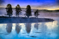 Foggy Mountain Sunrise (Charles Patrick Ewing) Tags: sunrise sun morning color colorful blue yellow purple nature landscape art artistic reflection reflections tree trees water lake new fickr photo photograph landscapes all everything beautiful natural nikon mountain lowlight best fave faves favorite