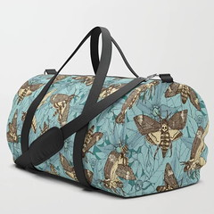 Death's-head hawkmoth teal Soc6 duffle bag (Scrummy Things) Tags: deathsheadhawkmoth deathheadhawkmoth deathheadmoth illustration pattern belladonna deadlynightshade moths skull sharonturner scrummy botanical insects society6 soc6 dufflebag bag teal blue