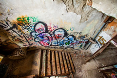 Secret Heart (Thomas Hawk) Tags: corktown detroit mcs michigan michigancentraldepot michigancentralstation usa unitedstates unitedstatesofamerica abandoned graffiti stairs stairway fav10