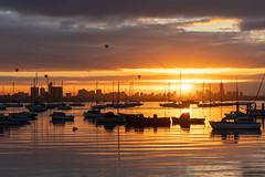 Williamstown at sunrise (La Señora Australiana) Tags: williamstown dawn sunrise balloons beach boats melbourne