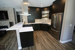 Modern style , #DesignBuild small #kitchenremodel with APlus #SophiaLineCabinets, wood floor, white counter tops in city of Chino Hills #OrangeCounty https://www.aplushomeimprovements.com/portfolio_page/chino-hills-design-build-kitchen-remodel-with-custom (Aplus Interior Design & Remodeling) Tags: orange county kitchen cabinets