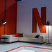 Netflix Sitzecke / Lounge mit puristischen Möbeln, auf der Gamescom 2019