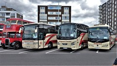 Safeguard Coaches on Display, Worthing Bus Rally 2019. (ManOfYorkshire) Tags: safeguard coaches bus touring vanhool bova vdl plaxton worthing rally 2019 display exhibits sussex england gb uk gm57gsm rt old london londontransport classic history nostalgia gu64saf yx18lhd seafront road seaside event