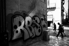 RRS (faster3ck) Tags: graffiti outdoors architecture day street nopeople buildingexterior alley town city sidewalk blackandwhite art walking multicolored palermo sicilia sicily italia italy urbanexploration urban streetlife