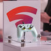 Google Stadia's white controller on display at Gamescom trade fair for digital games culture