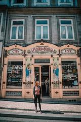 Porto Facade (dogslobber) Tags: green porto portugal europe travel adventure explore wander facade shop grocery girl woman art nouveau