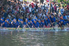 Dark Blue Men's Boat Racing Team Paddles Past the Crowd (jasonrosette) Tags: asia camerado jrosette jasonrosette cambodia festival water blue travel boat competition racing team river athlete rowing