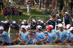 Men and Women's Boat Racing Teams Make a Practice Run in the River (jasonrosette) Tags: camerado jrosette jasonrosette cambodia festival holiday race siemreap boat boats team teamwork compete athlete