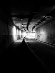 Little Burgundy Tunnel (Montreal) (MassiveKontent) Tags: streetphotography montreal bw contrast city monochrome urban blackandwhite streetphoto montréal quebec photography bwphotography streetshot asphalt concrete shadows noiretblanc blancoynegro geometric urbandecay tunnel road tube perspective shadow underground absoluteblackandwhite direction