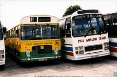 Phil Anslow RELL OAE954M, and Leopard DAD258T, Garndiffaith, June 22nd 1996 (Bristol RE) Tags: philanslow bristolomnibus badgerline bristolre rell rell6l ecw oae954m 1332 258 dad258t leyland leopard nationaltravel southwest ntsw plaxton supremeiv garndiffaith