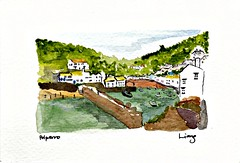 Polperro, by Liang (Peter Denton) Tags: watercolour art painting ©lianglu polperro cornwall england westcountry fishingharbour europe europa