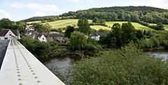 LOOKING ACROSS THE BRIDGE (chris .p) Tags: brockweir wye valley nikon d610 wales uk village scene landscape summer 2019 tree trees wyevalley august church houses