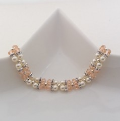 Peach crystal and pearl bracelet (gloria-ma-sebastian) Tags: light peach crystals swarovski creamrose pearls silver plated rondelle rhinestone spacers round spacer beads snap clasp wedding jewellery birthday gift for her anniversary present accessories bridesmaid sparkly