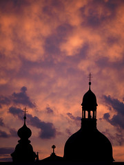 wow (m_laRs_k) Tags: sunset mannheim germany natural jesuitenkirche sonnenuntergang sommer august panasonic lumix olympus penf 35100 f28 silhouette church towers sky clouds orange red blue telephoto mft m43 34 magic