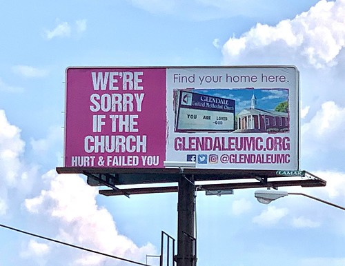 Glendale UMC Message of God's Love up in the Sky on Billboard