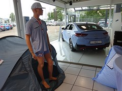Camping in the Hyundai Showroom (harry_nl) Tags: germany deutschland 2019 bedburghau hyundai i30 fastback n camping schröder