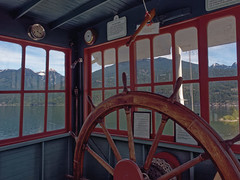 S.S. Moyie, Pilot House (Whidbey LVR) Tags: lyle rains lylerains olympus em5ii canada kaslo bc british columbia boat ship steam steamboat steamer steamship paddle sternwheeler national historic site wheel wheelhouse pilothouse