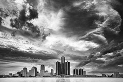 Detroit (azhukau) Tags: detroit downtowndistrict downtown river architecture officebuilding cloudscape cloudsky cityscape monochrome blackandwhite usa