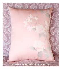 Camelia Kimono Throw Pillow (Kurokami) Tags: lindsay ontario canada kimono japan japanese asia asian woman women girl girls lady ladies traditional kitsuke vintage antique silk yuzen camelia tsubaki throw pillow remake reuse upcycle pink white flower flowers floral