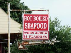 Hot boiled seafood - Madisonville, Louisiana (Monceau) Tags: hot boiled seafood sign madisonville louisiana arrow rusty