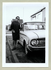 "1961 Ford Falcon (Vintage Cars & People) Tags: vintage classic black white ""blackwhite"" sw photo foto photography automobile car cars motor ford fordfalcon 1961falcon lady fashion sunglasses shades ladyssuit femalesuit fur furtrimmed 1960s 60s sixties"