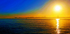 Lisboa | Lisbon | Lisbonne | Lisbona | Lissabon | Лиссабон (António José Rocha) Tags: portugal lisboa cidade capital rio riotejo água pôrdosol beleza sol luz reflexos cores ponte25deabril