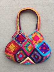 Another side of the bag view b (crochetbug13) Tags: crochet crocheted crocheting crochetsquaresgrannysquares crochetpurse grannysquarepurse grannysquaretote grannysquarebag crochetbag crochettote scrapyarncrochet