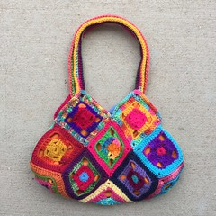 Another side of the bag view A (crochetbug13) Tags: crochet crocheted crocheting crochetsquaresgrannysquares crochetpurse grannysquarepurse grannysquaretote grannysquarebag crochetbag crochettote scrapyarncrochet