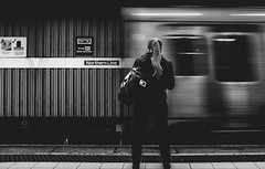 Street (MJ Black) Tags: liverpool liverpoolstreetphotography mono monochrome monochromephotography merseyside north northwest people peoplephotography portrait portraits candidphotography candid street streetphoto streetphotograph streetphotography streets streetscene streetportrait shadows shadow highcontrast blur motionblur x100f 23mm fuji fujix100f fujifilmx100f fujifilm merseyrail train trainstation trains railway railwaystation railnetwork rail railplatform railtrack