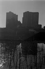 35 (mati.a) Tags: edificios reflejo reflection chile 35mm film analog water arquitectura city buildings nikon fm2 nikonfm2 kodak bw kodaktrix kodaktrix400 trix400 trix