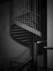 Night Stairs (Nick Condon) Tags: abstract architecture blackandwhite hakone japan night olympus25mm olympusem10 shadow spiral stairs