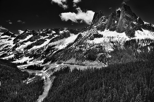 Peaks, Spires and a Ridgeline Covered with Snow (Black & White)