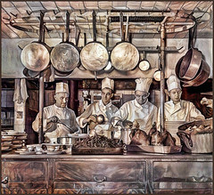 Turkey Roasters (-Brian Blair-) Tags: ddg cook pan hang pot four kitchen turkey chef hat shorpy