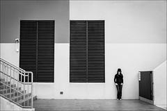 F_MG_5312-2-BW-Canon 6DII-Canon 16-35mm-May Lee 廖藹淳 (May-margy) Tags: maymargy bw 黑白 人像 建築 牆壁 樓梯 通風口 街拍 線條造型與光影 天馬行空鏡頭的意想世界 心象意象與影像 台灣攝影師 幾何構圖 點人 台中市 台灣 中華民國 fmg53122bw portrait building taiwanphotographer stairs streetviewphotography linesformsandlightandshadow mylensandmyimagination naturalcoincidencethrumylens humaningeometry humanelement taichungcity taiwan repofchina canon6dii canon1635mm maylee廖藹淳
